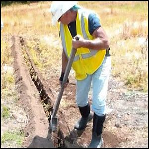 Bottom Digger trenching tool used by contractor.