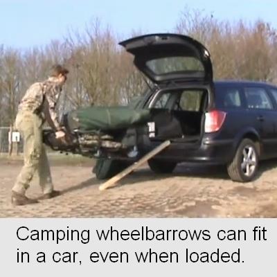 rolling a camping wheelbarrow into a car
