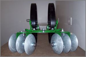 rear view of disc cultivator on double wheel hoe