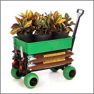 garden wagon loaded with soil and plants