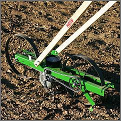 Hoss Big Wheel seeder in a garden