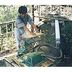 tablesaw being run by small water turbine