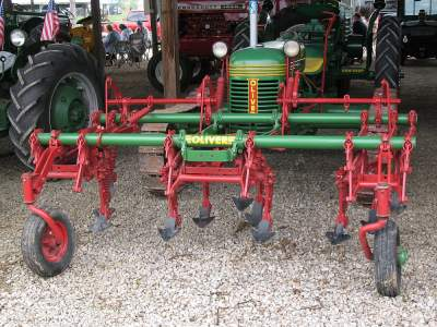 Rare front mounted cultivators on the Oliver crawler tractor