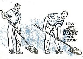 Advantage of a high lift shovel for scooping and shoveling