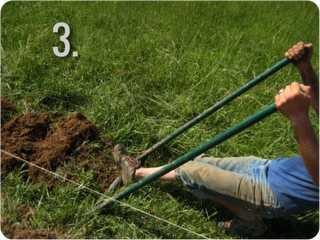Turning sod with a U bar digger - Step 3